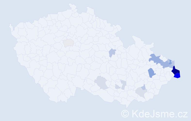 Příjmení: 'Gaura', počet výskytů 59 v celé ČR