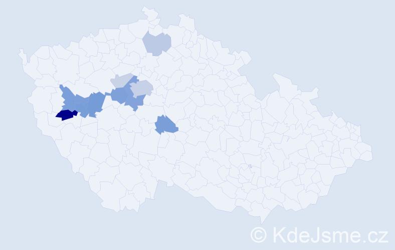 Příjmení: 'Blábolová', počet výskytů 28 v celé ČR
