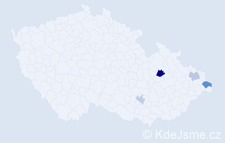 Příjmení: 'Hanaková', počet výskytů 4 v celé ČR
