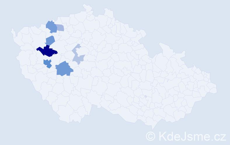 Příjmení: 'Korbelíková', počet výskytů 27 v celé ČR