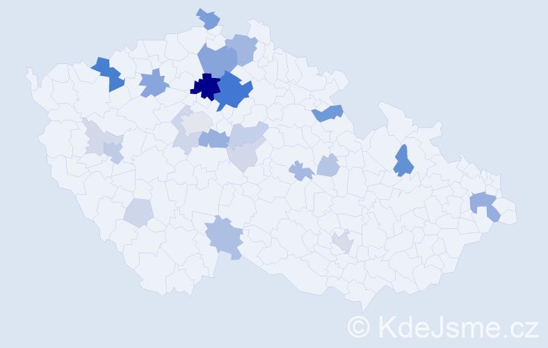 Příjmení: 'Henc', počet výskytů 87 v celé ČR