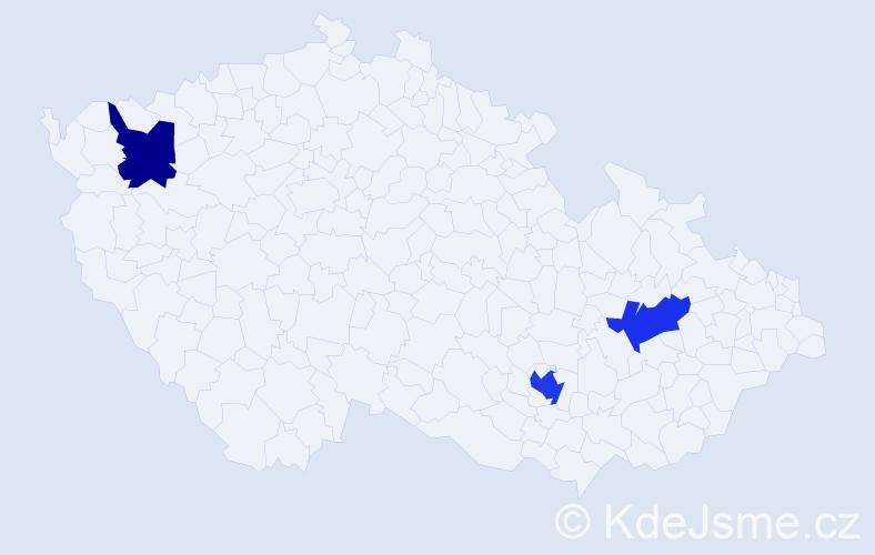 Příjmení: 'Israel', počet výskytů 5 v celé ČR