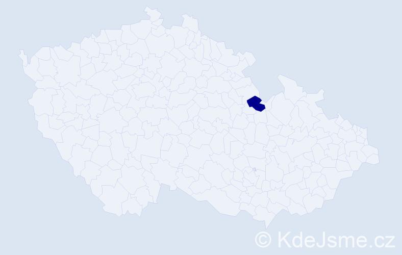 """Příjmení: '""""Fabiánková Kvapilová""""', počet výskytů 1 v celé ČR"""