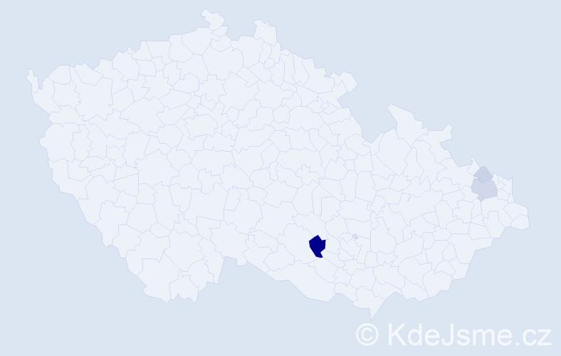 Příjmení: 'Čapo', počet výskytů 9 v celé ČR