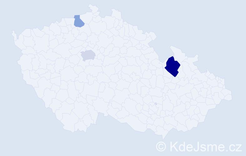 Příjmení: 'Hauška', počet výskytů 6 v celé ČR