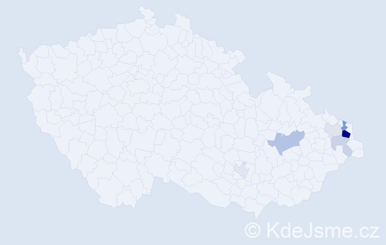 Příjmení: 'Hekera', počet výskytů 18 v celé ČR