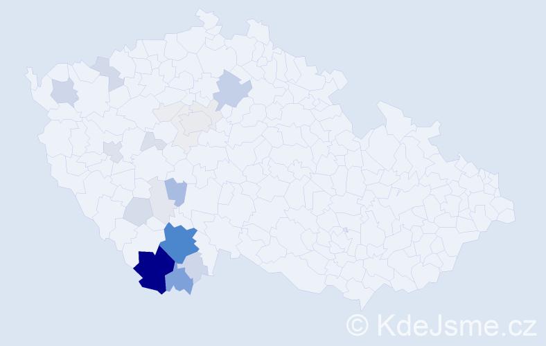 Příjmení: 'Kalkušová', počet výskytů 109 v celé ČR