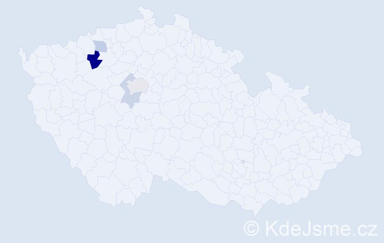 Příjmení: 'Dérer', počet výskytů 8 v celé ČR