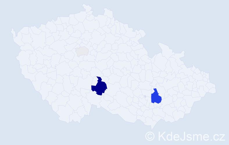 Příjmení: 'Cézar', počet výskytů 8 v celé ČR