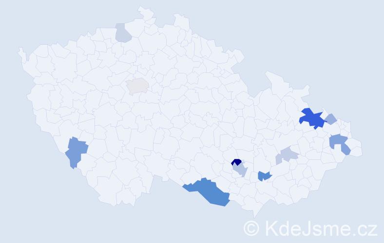 Příjmení: 'Eller', počet výskytů 29 v celé ČR