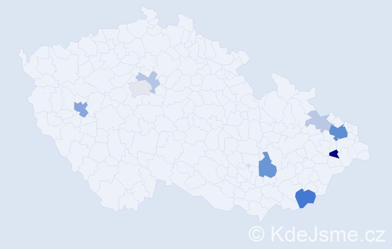 Příjmení: 'Gardelková', počet výskytů 23 v celé ČR
