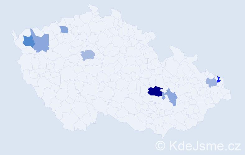Příjmení: 'Halamásek', počet výskytů 18 v celé ČR