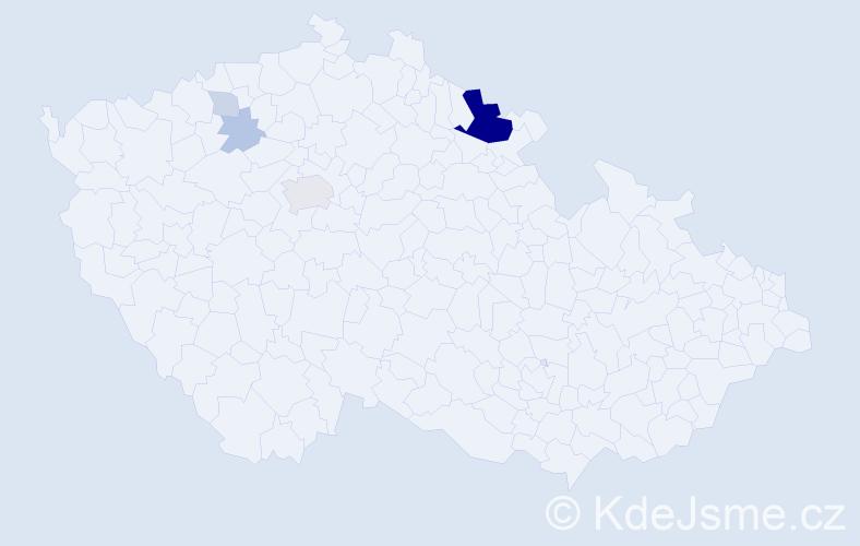Příjmení: 'Hetflejš', počet výskytů 17 v celé ČR