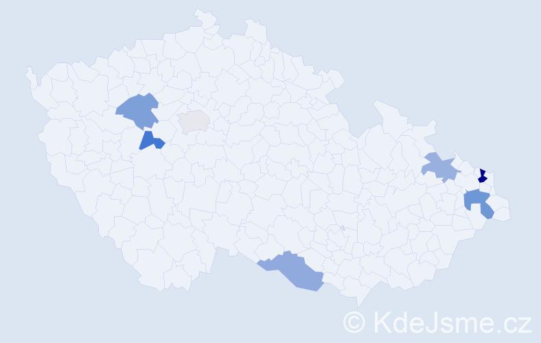 Příjmení: 'Holubeková', počet výskytů 10 v celé ČR