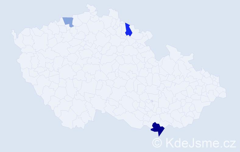 Příjmení: 'Hajičková', počet výskytů 5 v celé ČR