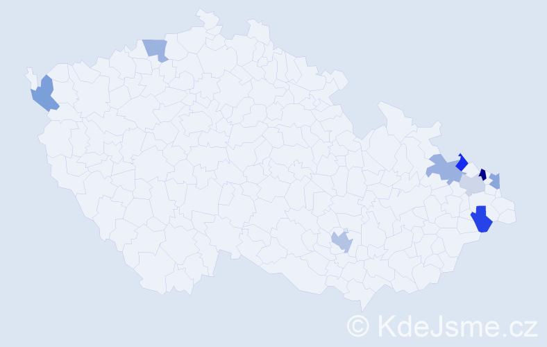 Příjmení: 'Czerny', počet výskytů 11 v celé ČR