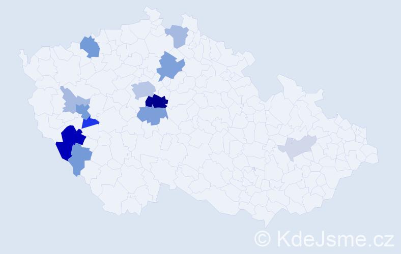 Příjmení: 'Kubice', počet výskytů 42 v celé ČR