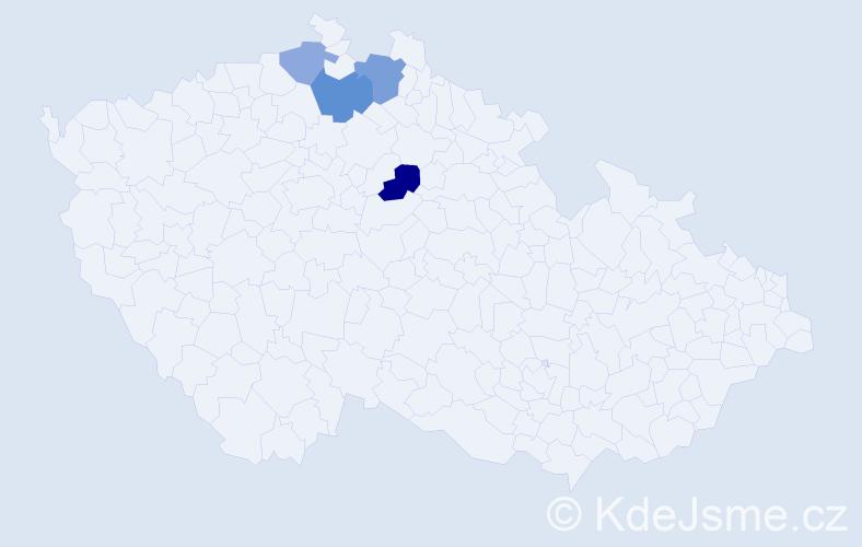 Příjmení: 'Jaderný', počet výskytů 7 v celé ČR