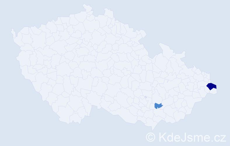 Příjmení: 'Jurzycová', počet výskytů 8 v celé ČR