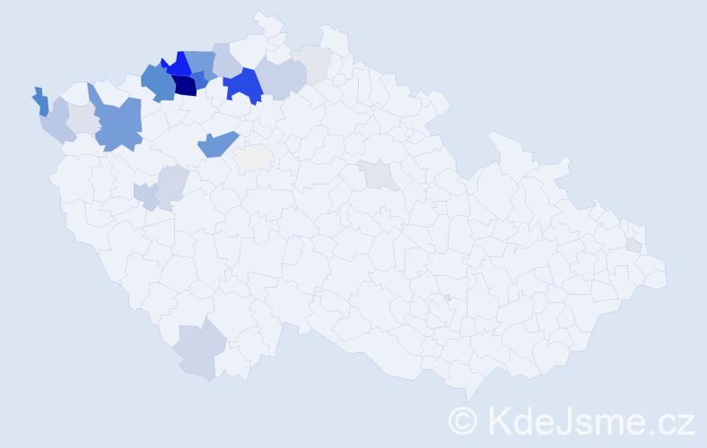 Příjmení: 'Kešel', počet výskytů 111 v celé ČR