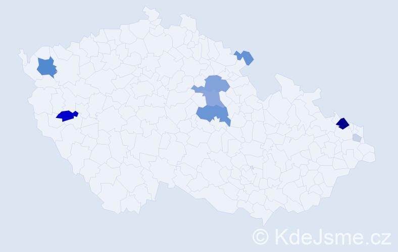 Příjmení: 'Čavajda', počet výskytů 27 v celé ČR