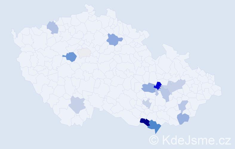 Příjmení: 'Ivánová', počet výskytů 19 v celé ČR