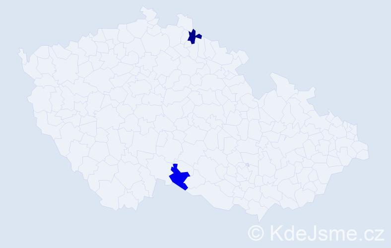 Příjmení: 'Ihnatišín', počet výskytů 7 v celé ČR