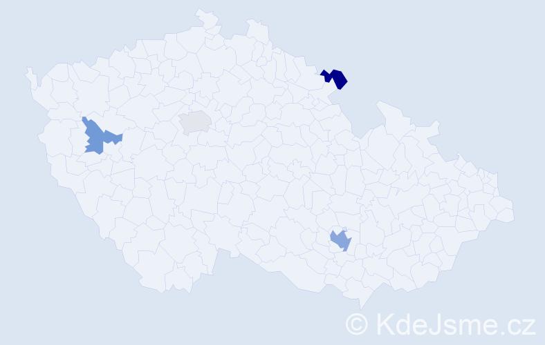 Příjmení: 'Kind', počet výskytů 6 v celé ČR