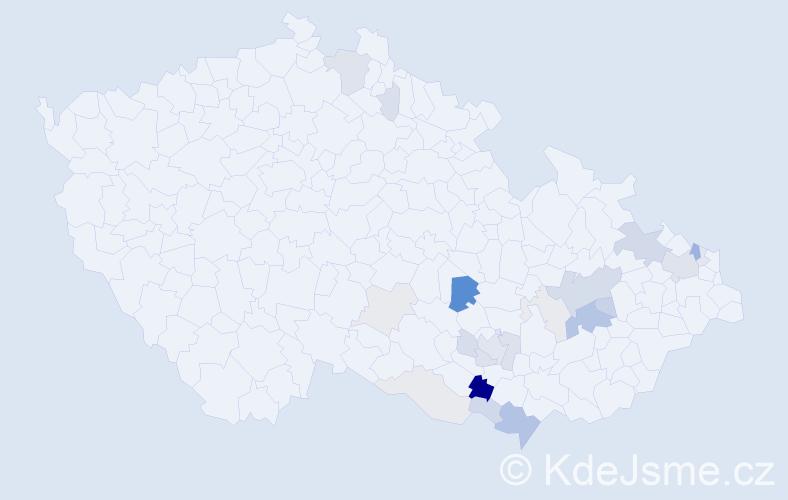 Příjmení: 'Kadlíčková', počet výskytů 68 v celé ČR