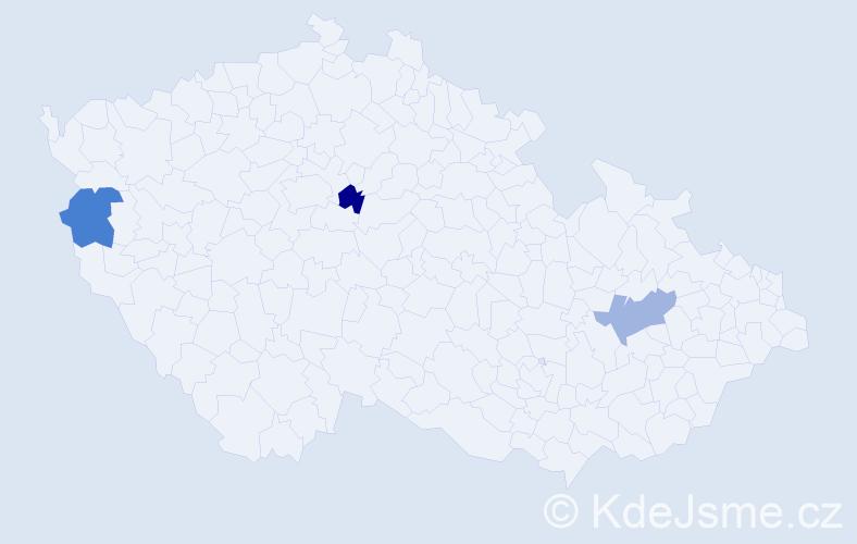 Příjmení: 'Čmiková', počet výskytů 3 v celé ČR