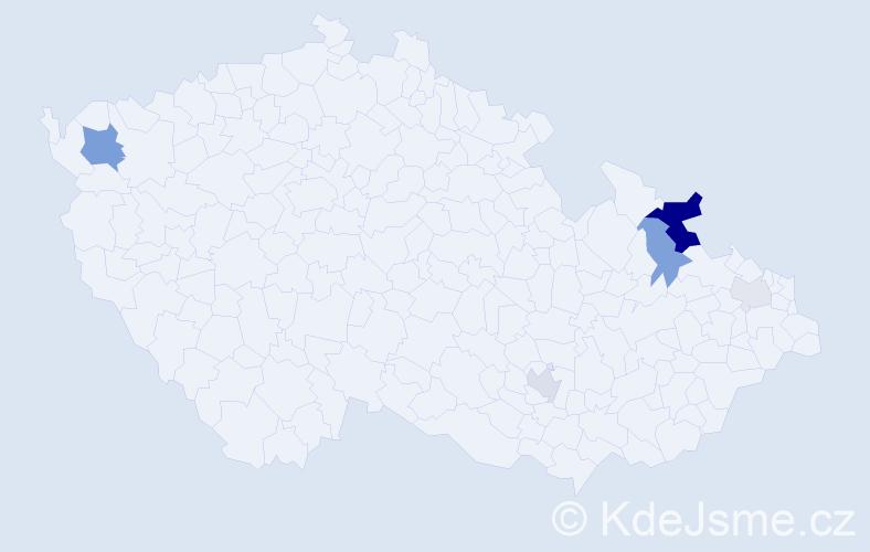 Příjmení: 'Kolbasa', počet výskytů 17 v celé ČR