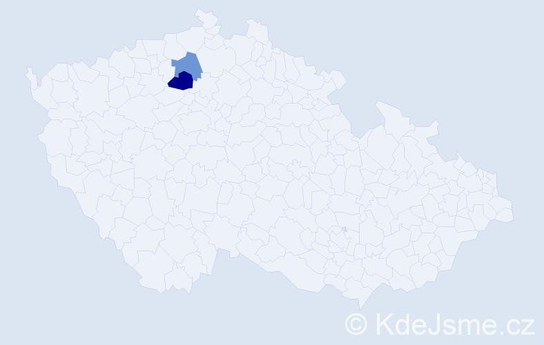 Příjmení: 'Hincu', počet výskytů 5 v celé ČR