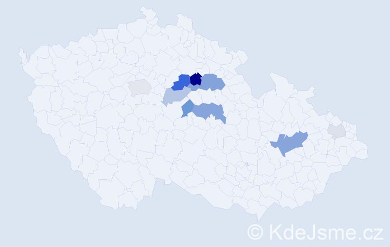 Příjmení: 'Emanovský', počet výskytů 17 v celé ČR