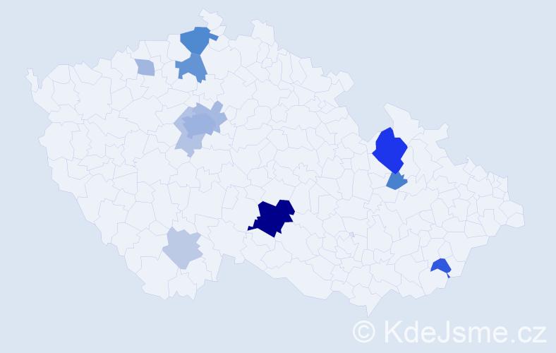 Příjmení: 'Běhunek', počet výskytů 32 v celé ČR