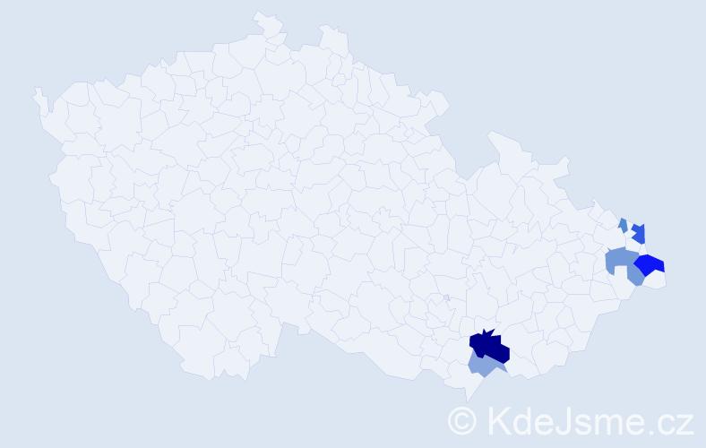 Příjmení: 'Izsó', počet výskytů 14 v celé ČR