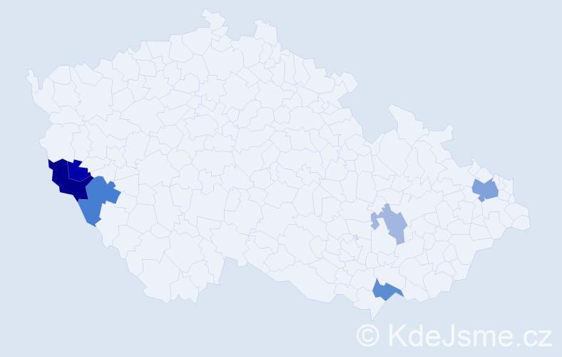 Příjmení: 'Hujsová', počet výskytů 13 v celé ČR