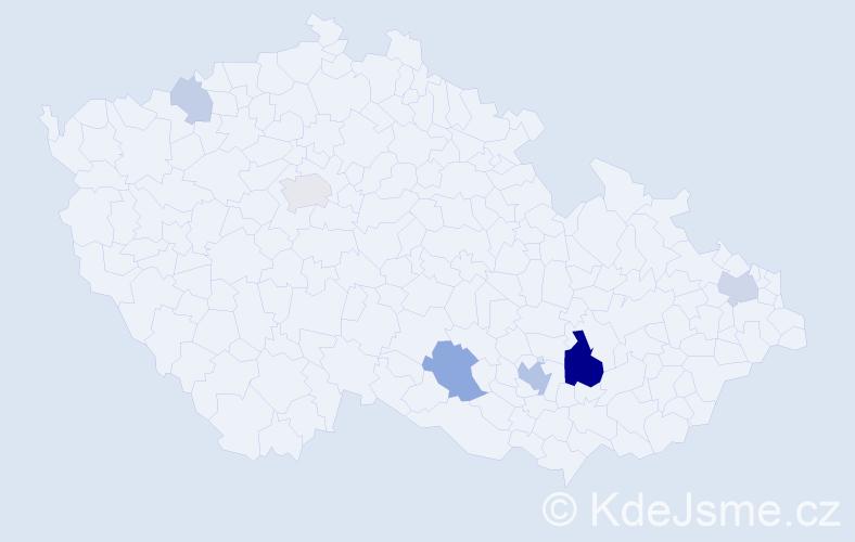 Příjmení: 'Chomoucká', počet výskytů 18 v celé ČR