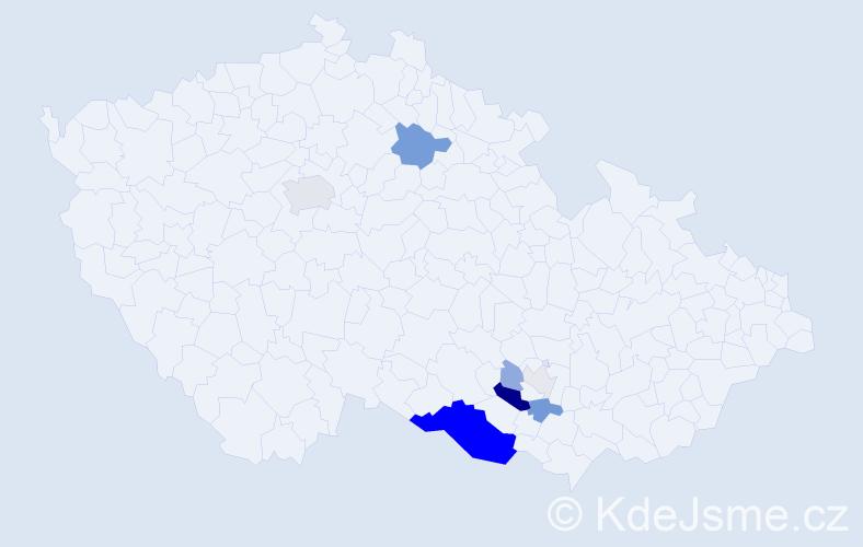 Příjmení: 'Fruhvirt', počet výskytů 29 v celé ČR