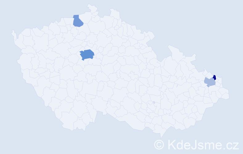 Příjmení: 'Ezechel', počet výskytů 12 v celé ČR