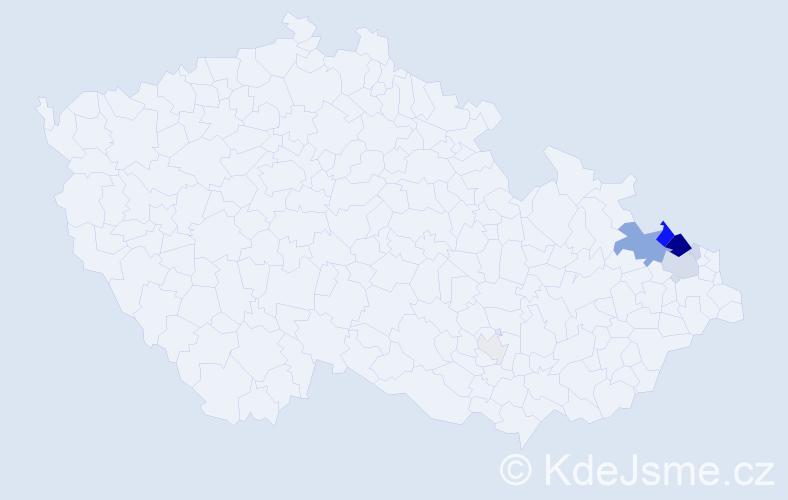 Příjmení: 'Chřibek', počet výskytů 46 v celé ČR