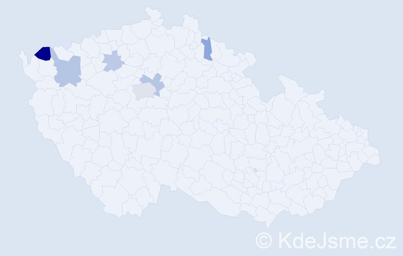 Příjmení: 'Jača', počet výskytů 14 v celé ČR
