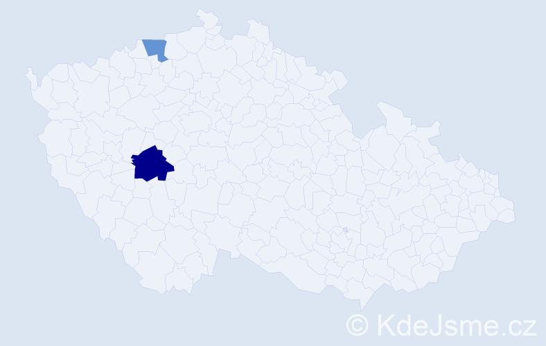 Příjmení: 'Lacroix', počet výskytů 3 v celé ČR