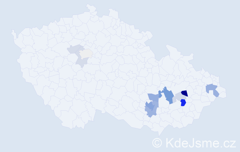 Příjmení: 'Abrahámková', počet výskytů 33 v celé ČR