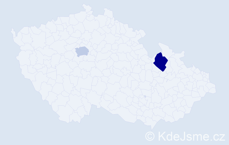 Příjmení: 'Bachrony', počet výskytů 4 v celé ČR