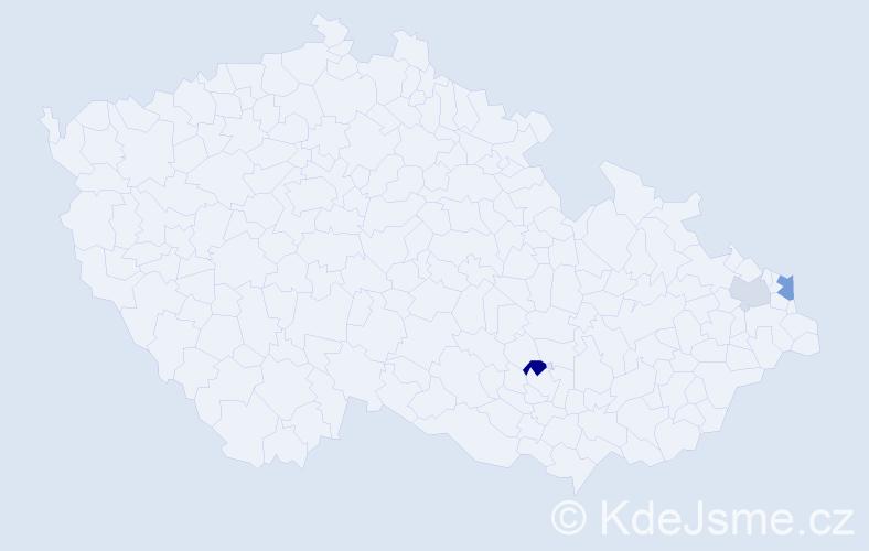 Příjmení: 'Biza', počet výskytů 5 v celé ČR