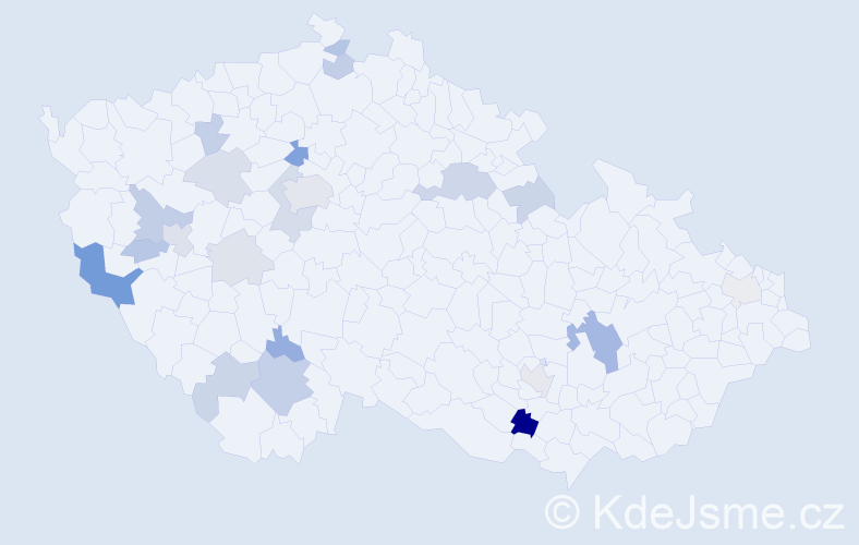 Příjmení: 'Hafner', počet výskytů 50 v celé ČR
