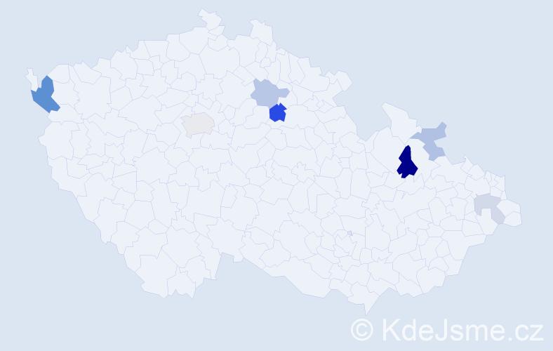 Příjmení: 'Calek', počet výskytů 14 v celé ČR