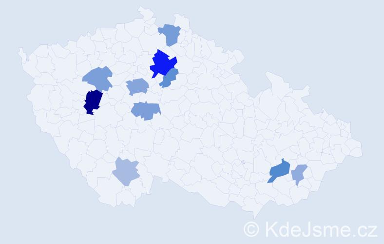 Příjmení: 'Krabsová', počet výskytů 26 v celé ČR