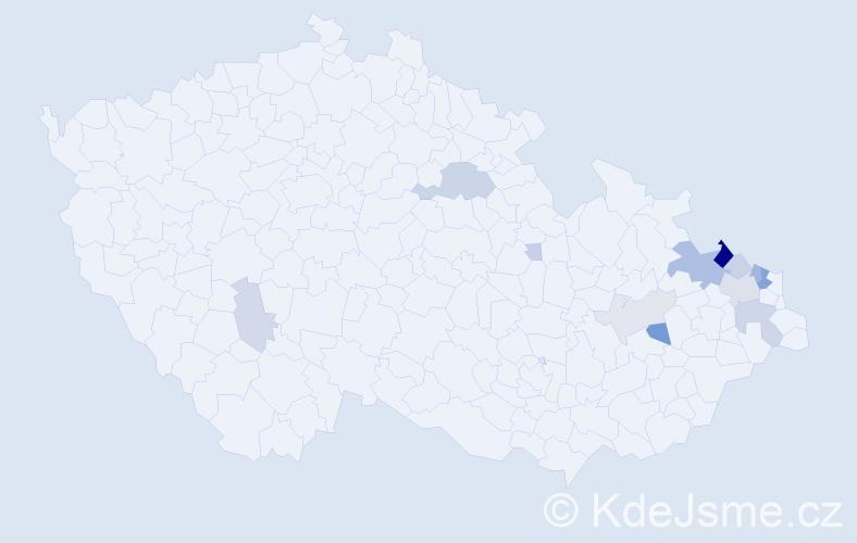Příjmení: 'Lamla', počet výskytů 54 v celé ČR