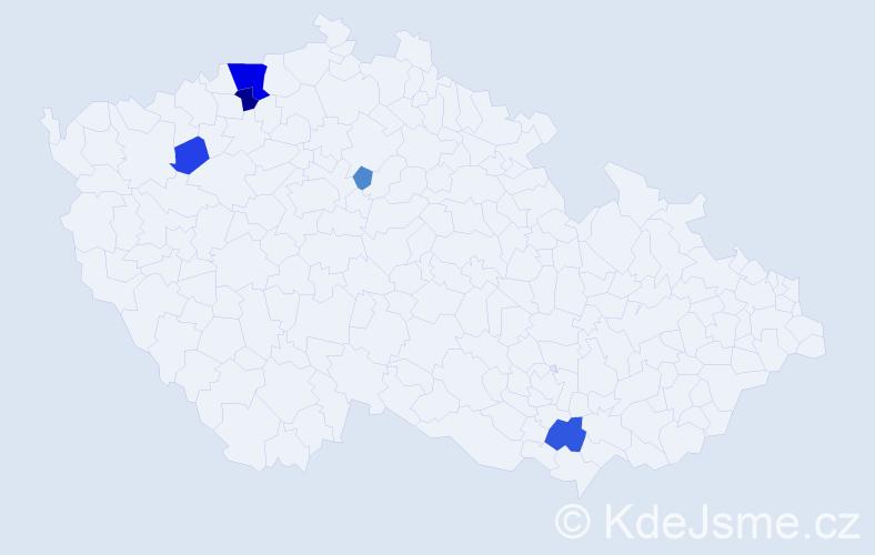 Příjmení: 'Ciganík', počet výskytů 13 v celé ČR
